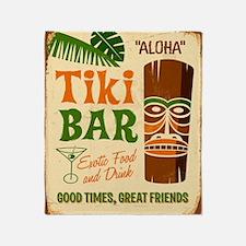 Vintage metal sign - Tki Bar - Raste Throw Blanket