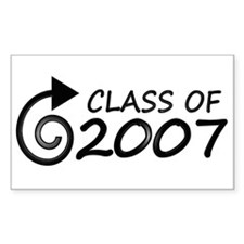 Class of 2007 swirl Rectangle Decal