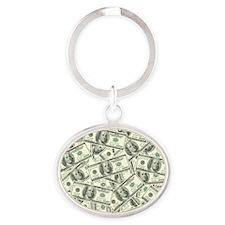 100 Dollar Bill Money Pattern Oval Keychain