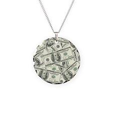 100 Dollar Bill Money Patter Necklace Circle Charm