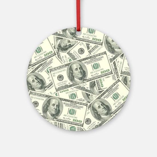 100 Dollar Bill Money Pattern Round Ornament