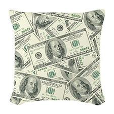 100 Dollar Bill Money Pattern Woven Throw Pillow