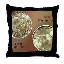 Carver/Washington Half Dollar Coin  Throw Pillow