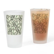 100 Dollar Bill Money Pattern Drinking Glass