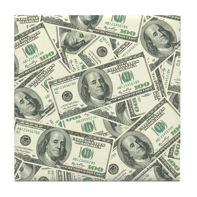 100 Dollar Bill Money Pattern Tile Coaster By Admin Cp3269