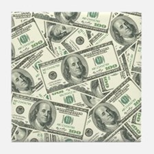 100 Dollar Bill Money Pattern Tile Coaster