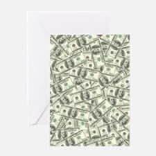 100 Dollar Bill Money Pattern Greeting Card