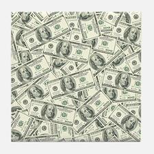 100 Dollar Bill Money Pattern Tile Coaster