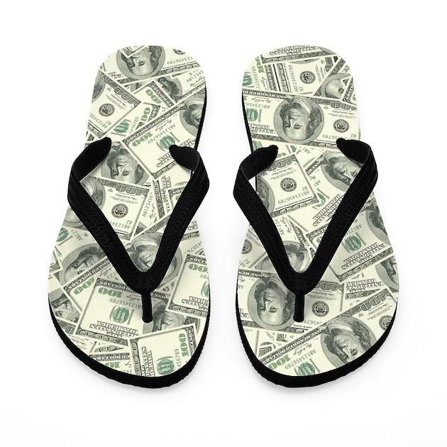 100 Dollar Bill Money Pattern Flip Flops By Admin Cp3269