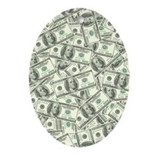100 Dollar Bill Money Pattern Oval Ornament