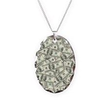100 Dollar Bill Money Pattern Necklace Oval Charm