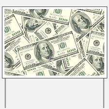 100 Dollar Bill Money Pattern Yard Sign