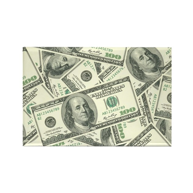 100 Dollar Bill Money Pattern Rectangle Magnet By Admin Cp3269