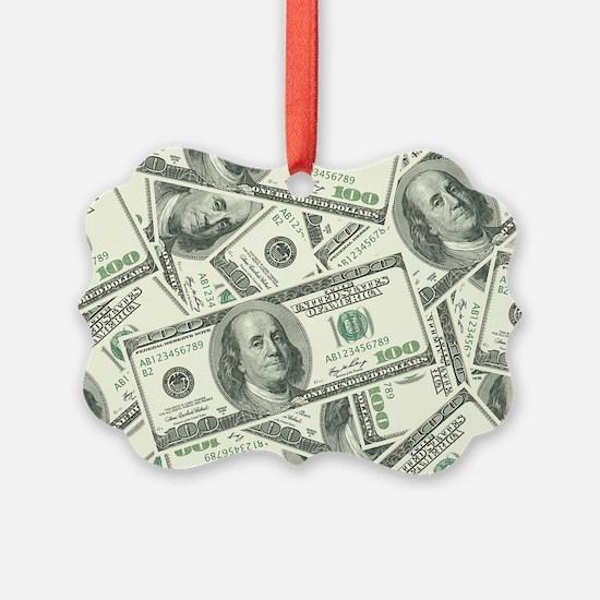 100 Dollar Bill Money Pattern Ornament