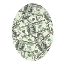 100 Dollar Bill Money Pattern Oval Ornament