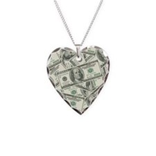 100 Dollar Bill Money Pattern Necklace Heart Charm