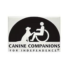 Black  White Canine Companions Lo Rectangle Magnet