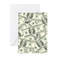 100 Dollar Bill Money Pattern Greeting Card