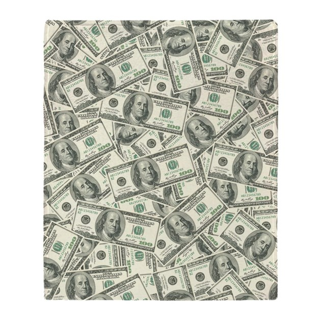 100 Dollar Bill Money Pattern Throw Blanket By Admin Cp3269