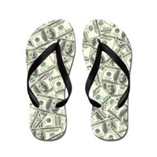 100 Dollar Bill Money Pattern Flip Flops