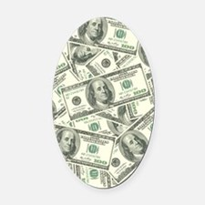 100 Dollar Bill Money Pattern Oval Car Magnet