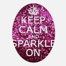 Keep Calm and Sparkle On Oval Ornament