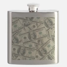 100 Dollar Bill Money Pattern Flask