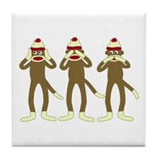 Hear, See, Speak No Evil Sock Monkeys Tile Coaster