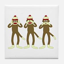 Hear, See, Speak No Evil Sock Monkeys Tile Coaster
