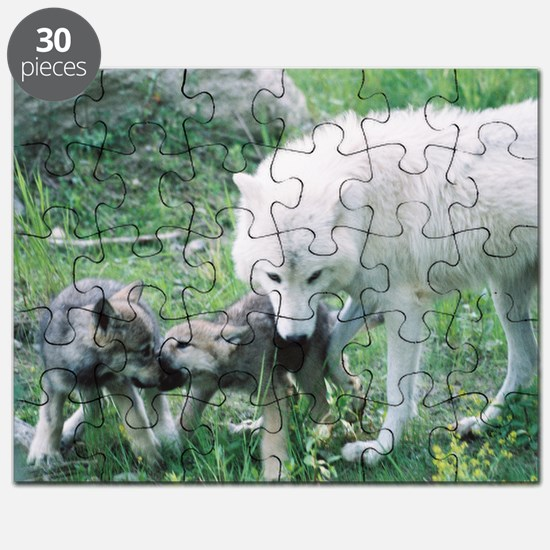 """""""Mother Wolf With Two Cubs"""" Puzzle"""