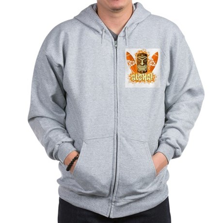 Vector illustration of orange tiki mask Zip Hoodie