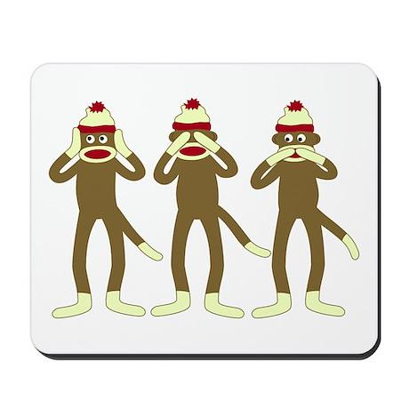 Hear, See, Speak No Evil Sock Monkeys Mousepad