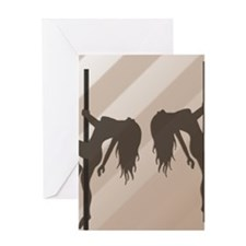 Pole Dancing Strippers - Beige Greeting Card