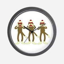 Hear, See, Speak No Evil Sock Monkeys Wall Clock