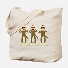 Hear, See, Speak No Evil Sock Monkeys Tote Bag