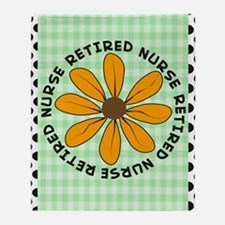 retired nurse gingham green Throw Blanket