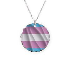 TRANSGENDER FLAG Necklace Circle Charm