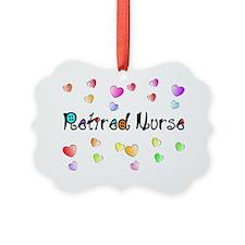Retired Nurse Gingham hearts Ornament
