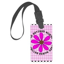 retired nurse gingham pink Luggage Tag