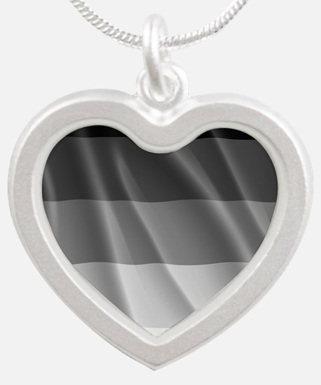 STRAIGHT PRIDE FLAG Silver Heart Necklace