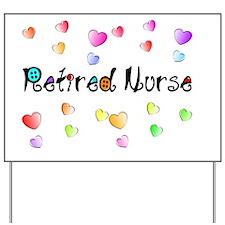 Retired Nurse Gingham hearts Yard Sign