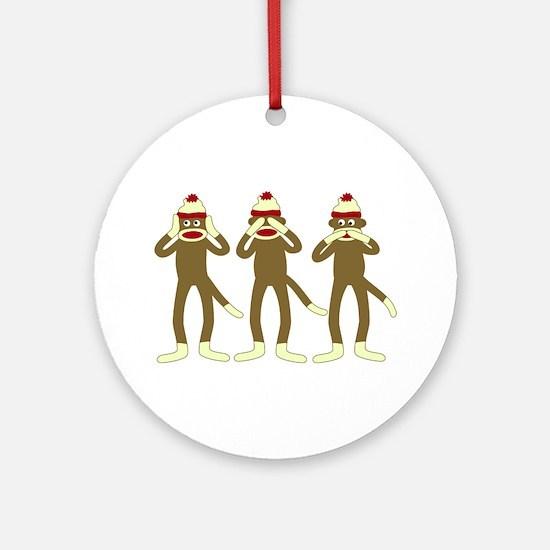 Hear, See, Speak No Evil Sock Monkeys Ornament