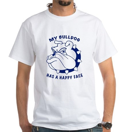 Bulldog's Happy Face White T-shirt