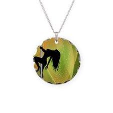 Exotic Dancer - Green Necklace Circle Charm