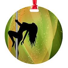 Exotic Dancer - Green Round Ornament