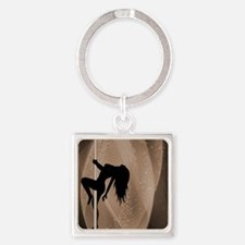 Pole Dancing Strippers - Brown Square Keychain