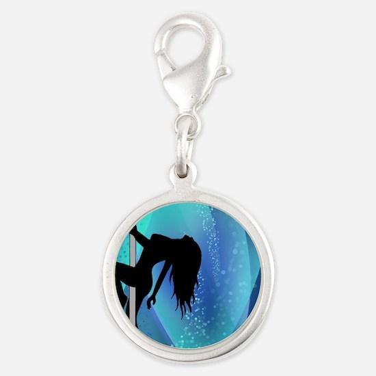 Stripper Silhouette - Blue Silver Round Charm