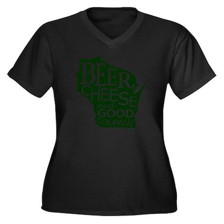 Beer, Chees Women's Plus Size Dark V-Neck T-Shirt