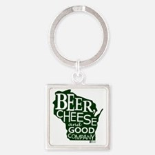 Beer, Chees & Good Company in Gree Square Keychain