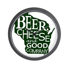 Beer, Chees & Good Company in Green Wall Clock